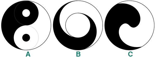 以大圆中加入两个圆,左右切割出黑白两个鱼形纹.另外亦找到图中图片